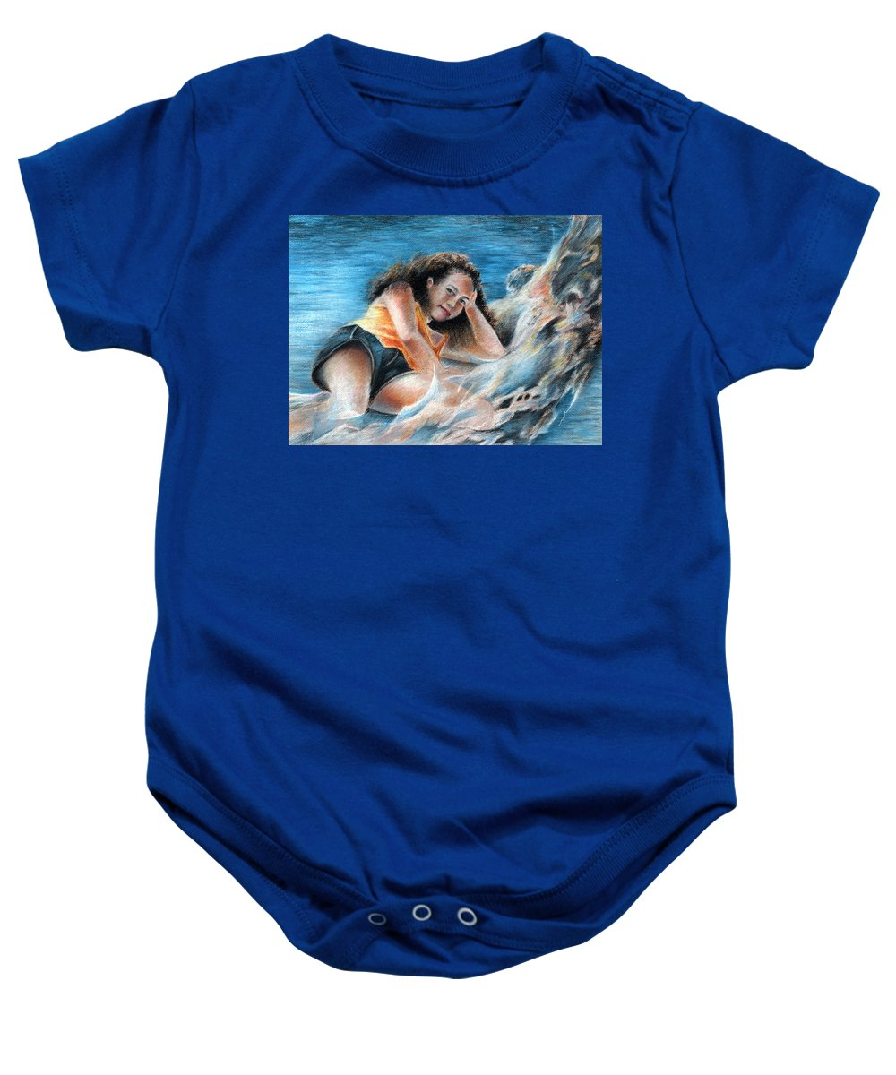 Travel Baby Onesie featuring the painting Young Tahitian Mermaid by Miki De Goodaboom