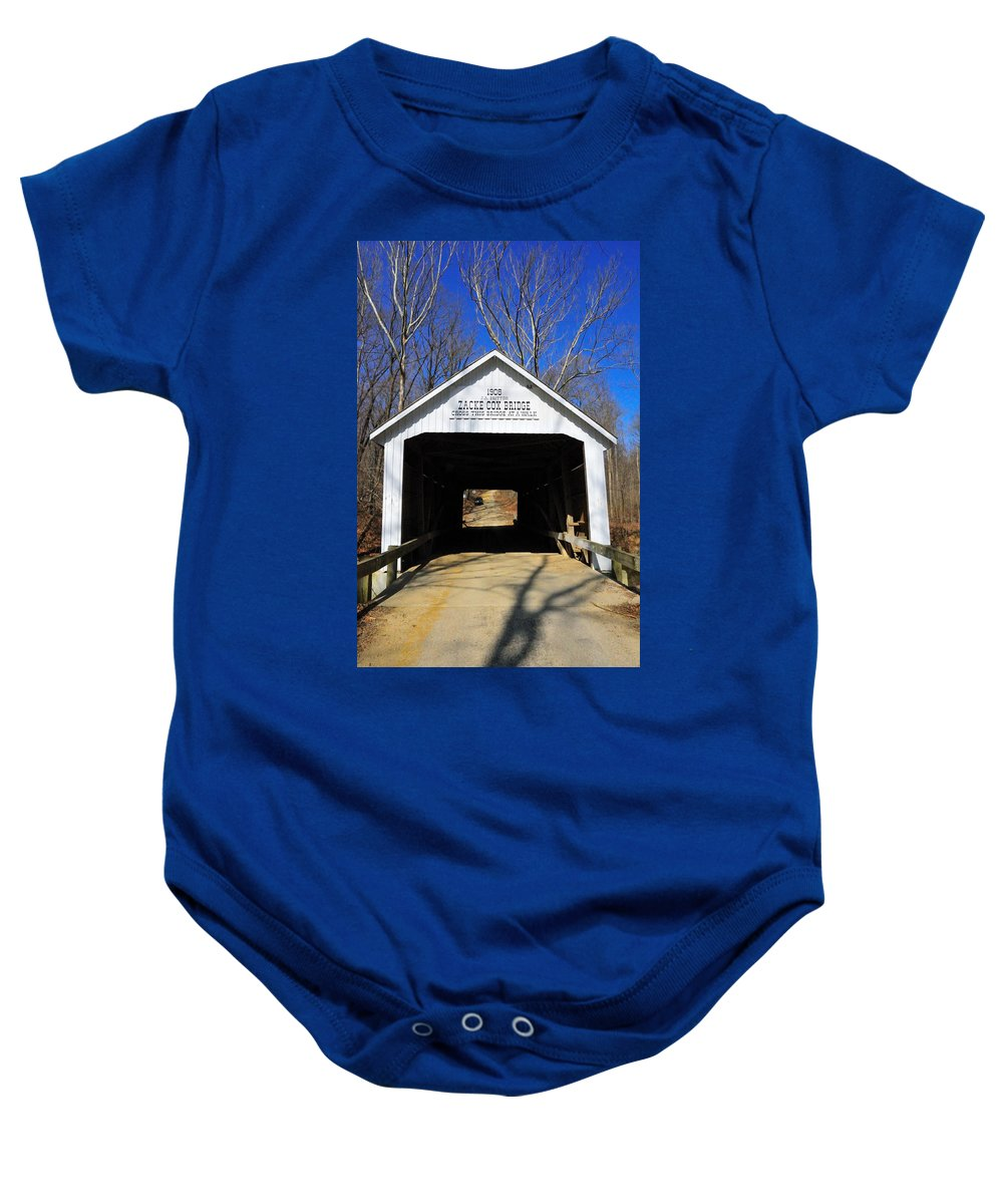 Zacke Cox Baby Onesie featuring the photograph Zacke Cox Covered Bridge by David Arment