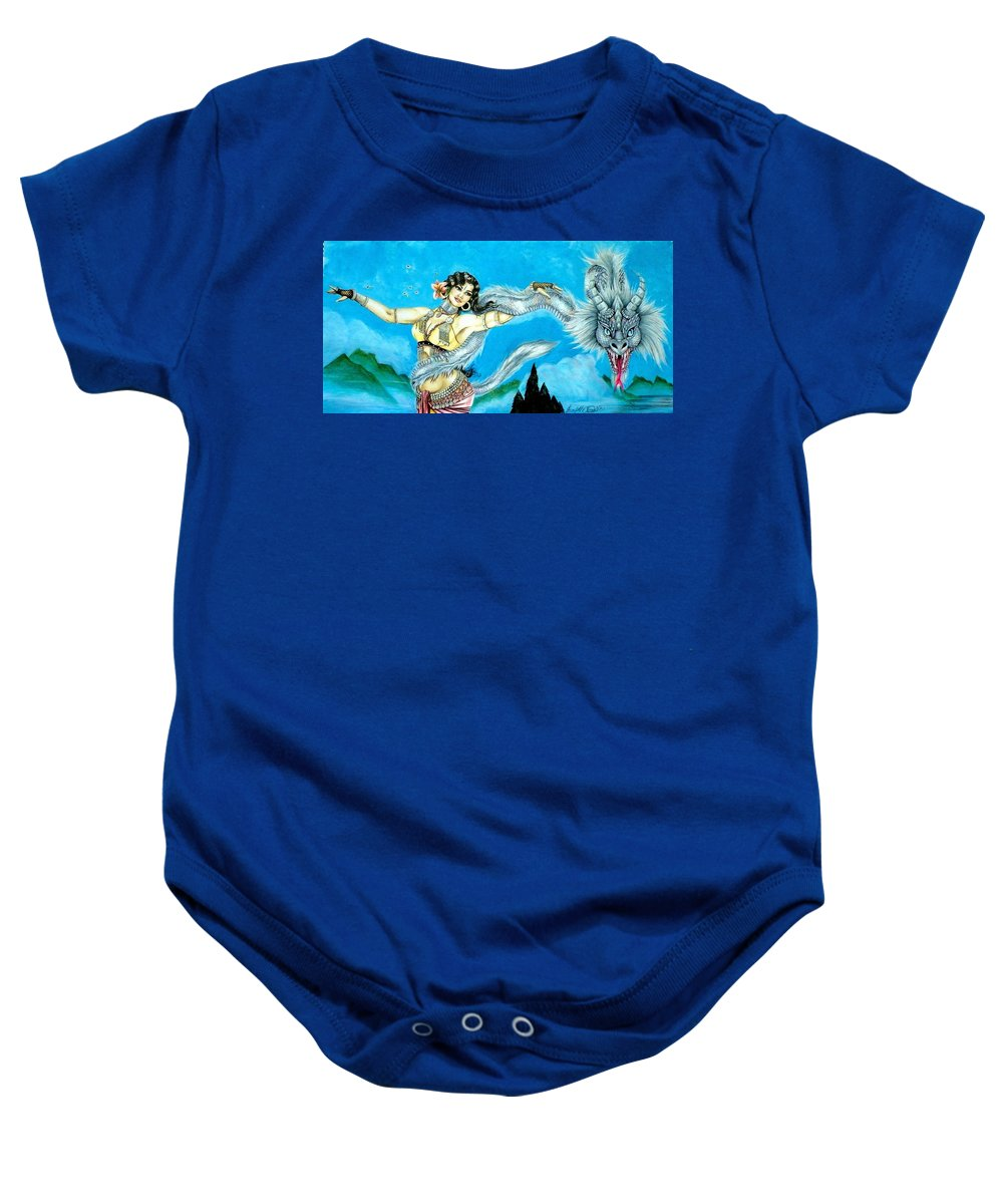 Pen And Ink Baby Onesie featuring the mixed media Dragon Dancer by Scarlett Royal