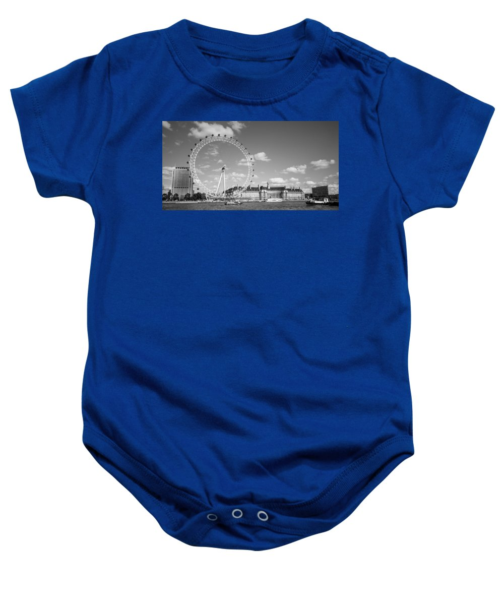 Dawn Oconnor Dawnoconnorphotos@gmail.com Baby Onesie featuring the photograph London Eye And County Hall by Dawn OConnor