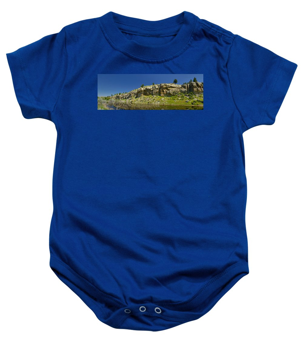 Americas Baby Onesie featuring the photograph Reflecting Cliffs by Roderick Bley