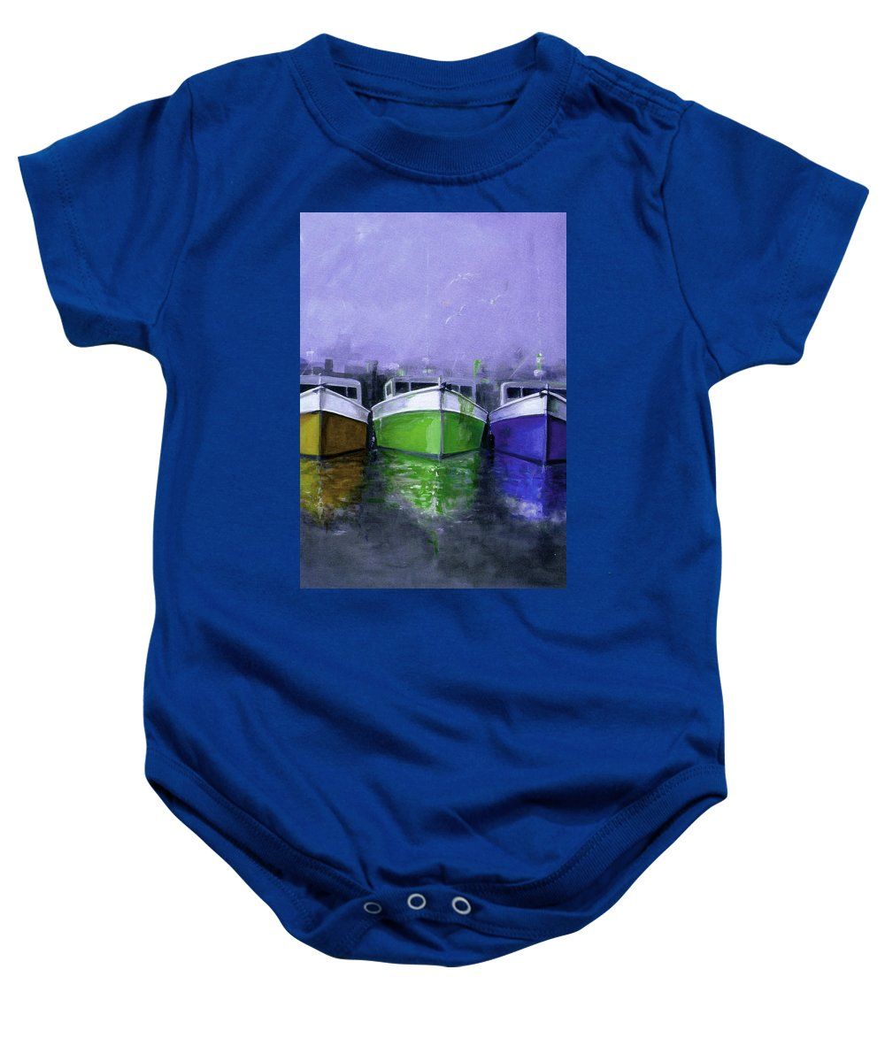 Australian Baby Onesie featuring the painting 3 Sisters 3 by Giro Tavitian