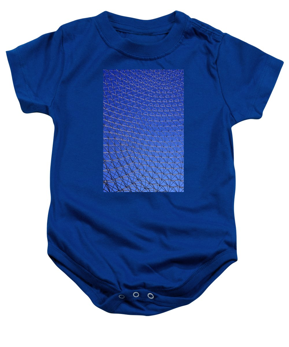 Pattern Baby Onesie featuring the photograph A Large Metal Mesh by David Chapman