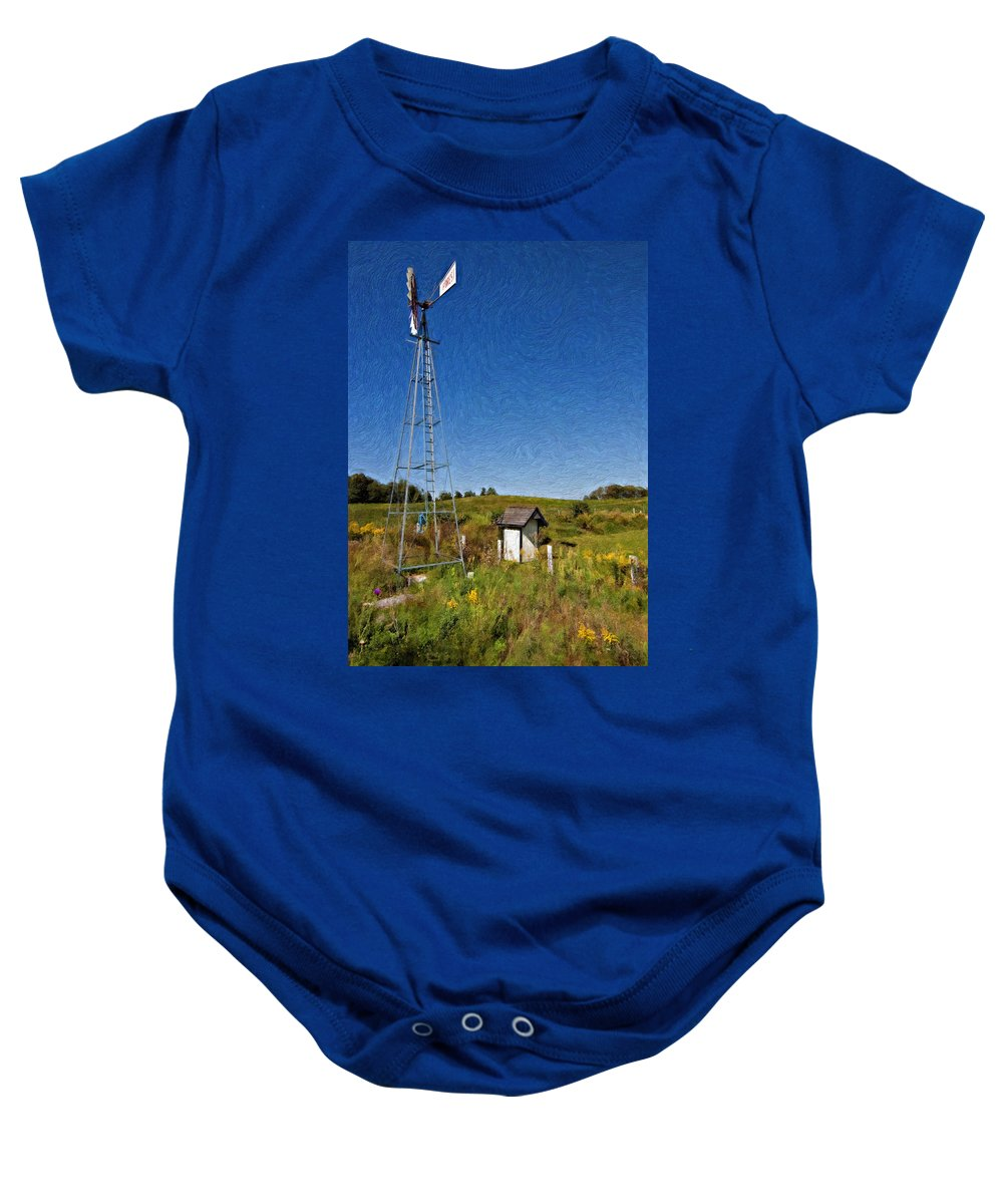 Grey Roots Museum & Archives Baby Onesie featuring the photograph A Moving Memory Impasto by Steve Harrington