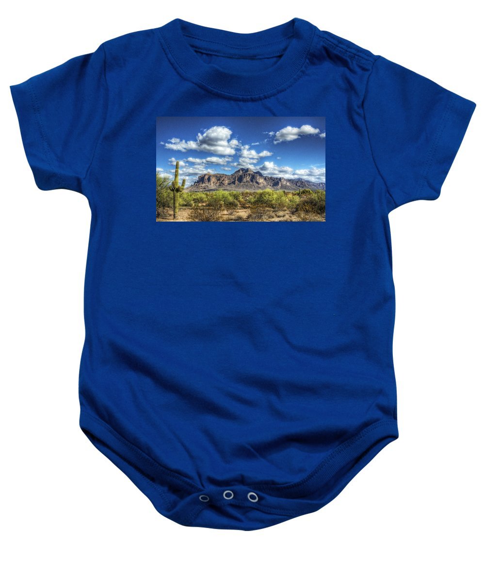 Arizona Baby Onesie featuring the photograph A Superstition Morning by Saija Lehtonen