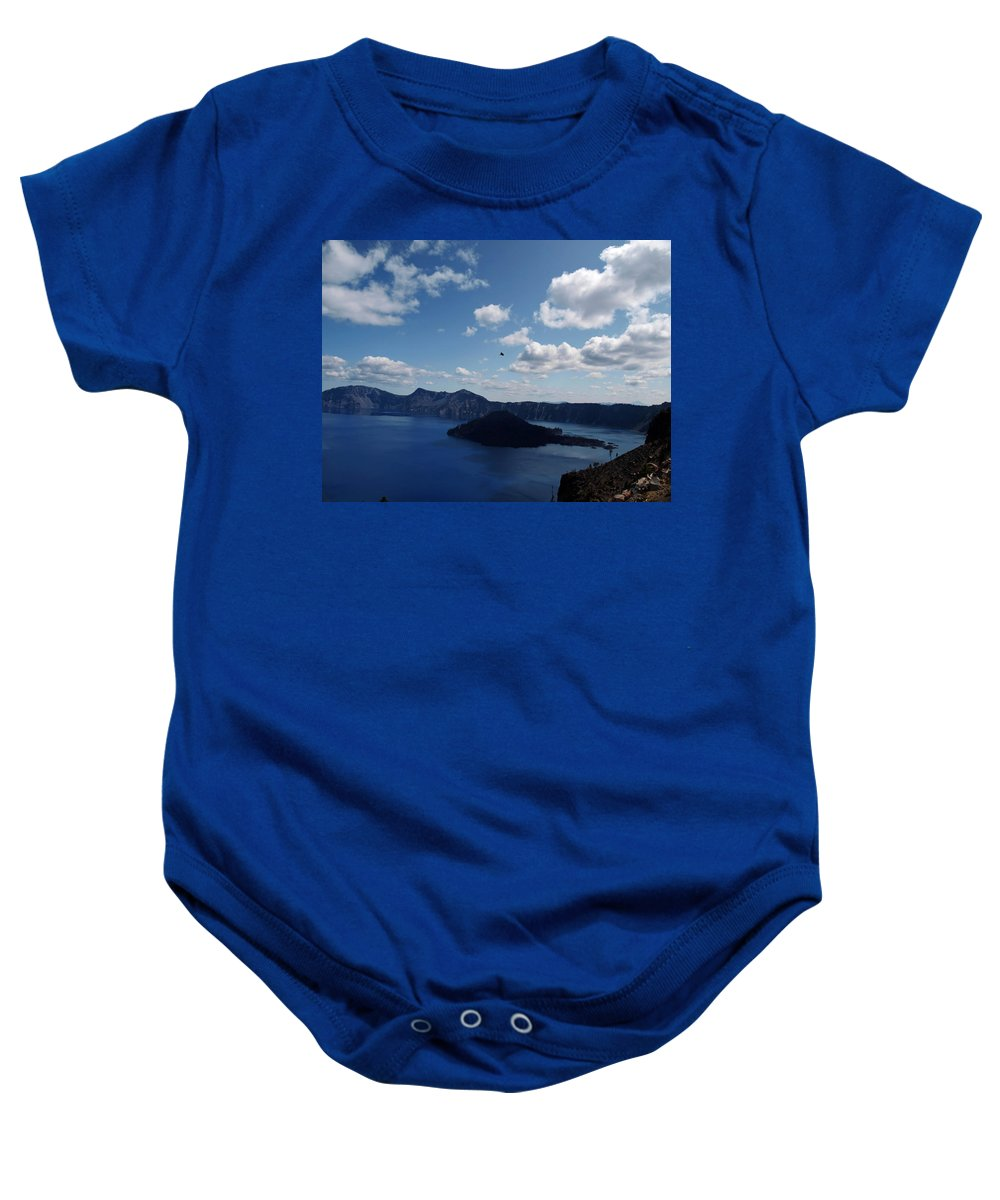Blue Baby Onesie featuring the photograph Backside Of Crater Lake by Teri Schuster