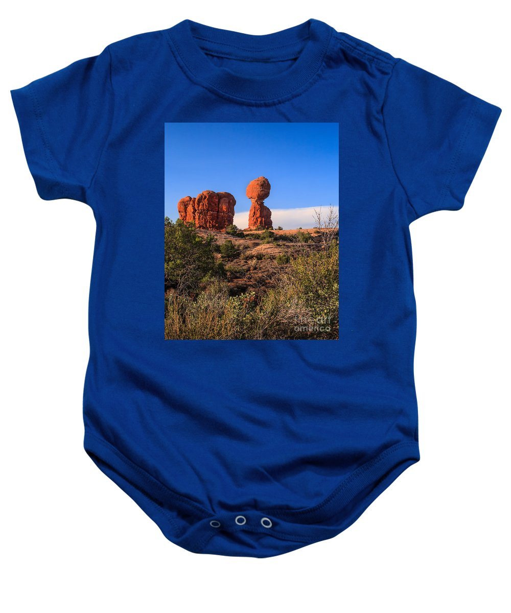 Balance Baby Onesie featuring the photograph Balance Rock I by Robert Bales