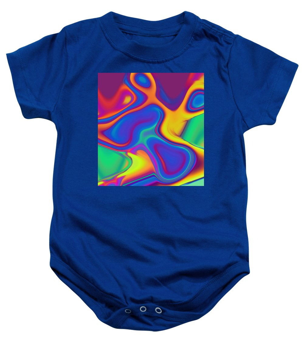 Abstract Digital Painting Color Colorful Expressionism Impressionism Baby Onesie featuring the digital art Blob by Steve K