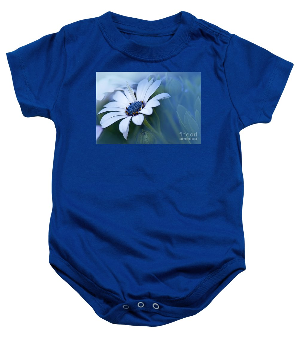 Daisy Baby Onesie featuring the photograph Blue Eyed African Daisy by Betty LaRue
