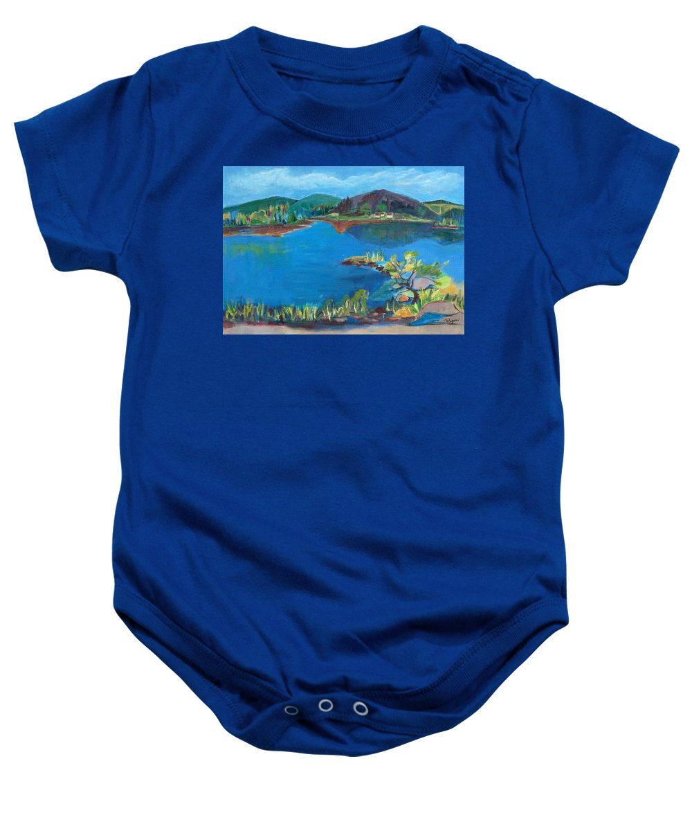 Rocks And Water Baby Onesie featuring the painting Breakwater On The Great Sacandaga by Betty Pieper
