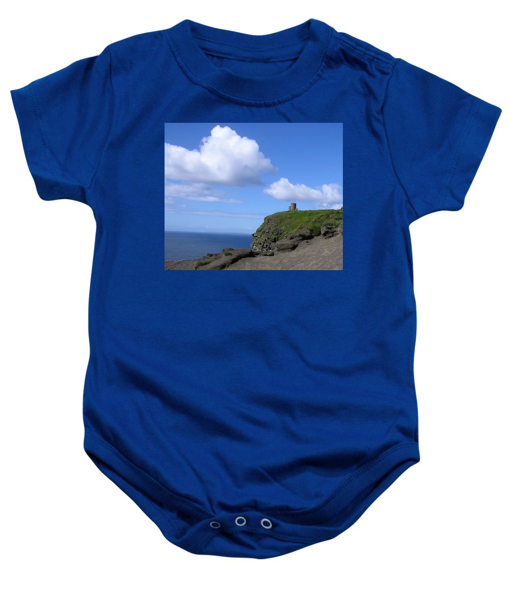 Castle On The Cliffs Of Moher Baby Onesie featuring the photograph Castle On The Cliffs Of Moher by Bill Cannon