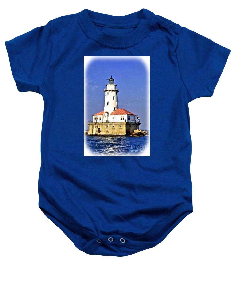 Chicago Baby Onesie featuring the photograph Chicago Lighthouse by Tommy Anderson