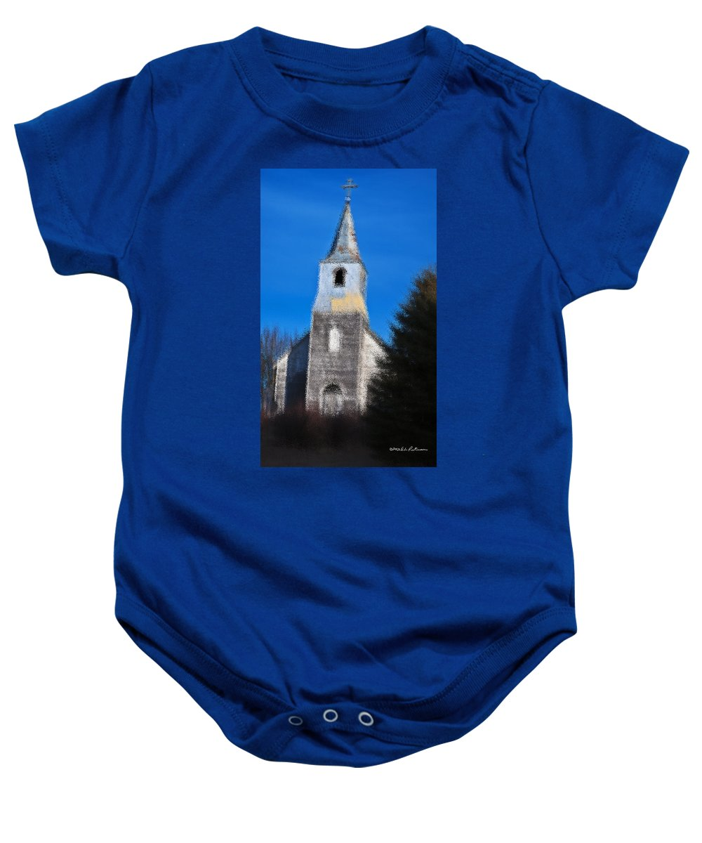 Church Baby Onesie featuring the photograph Church Of Days Gone By by Edward Peterson