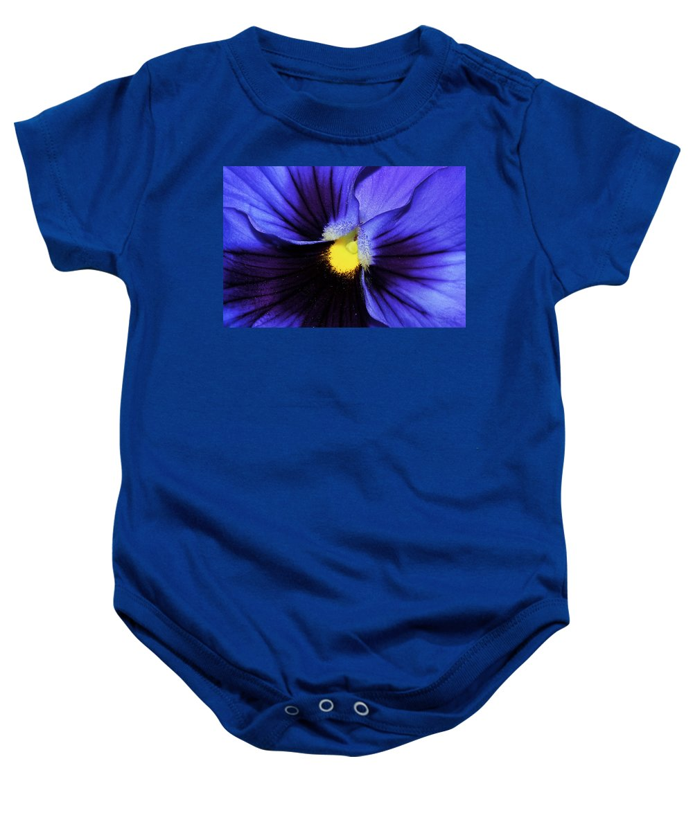 Pansy Baby Onesie featuring the photograph Cobalt Blue Pansy by Phyllis Denton