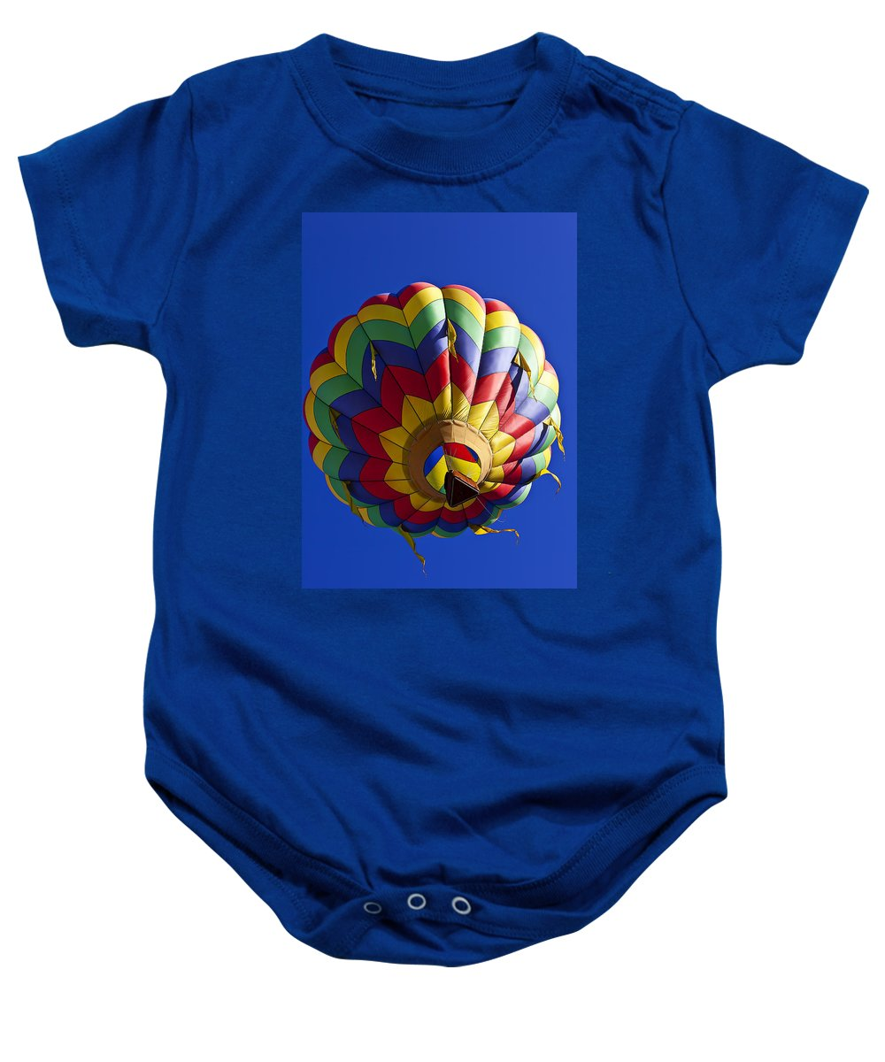 Hot Air Balloon Baby Onesie featuring the photograph Colorful Balloon by Garry Gay