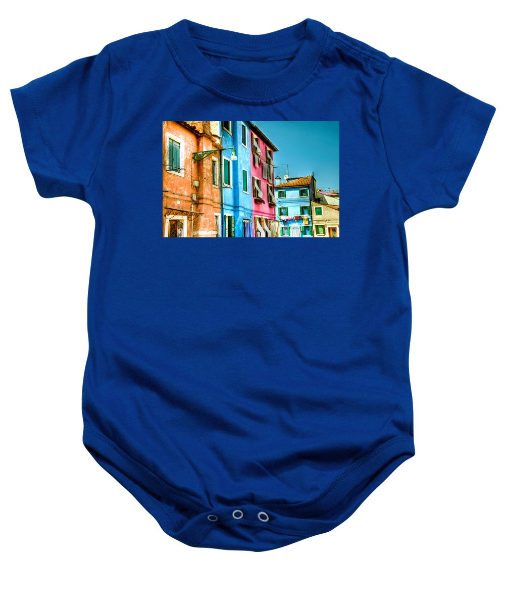 Burano Baby Onesie featuring the photograph Colorful Burano by Jon Berghoff