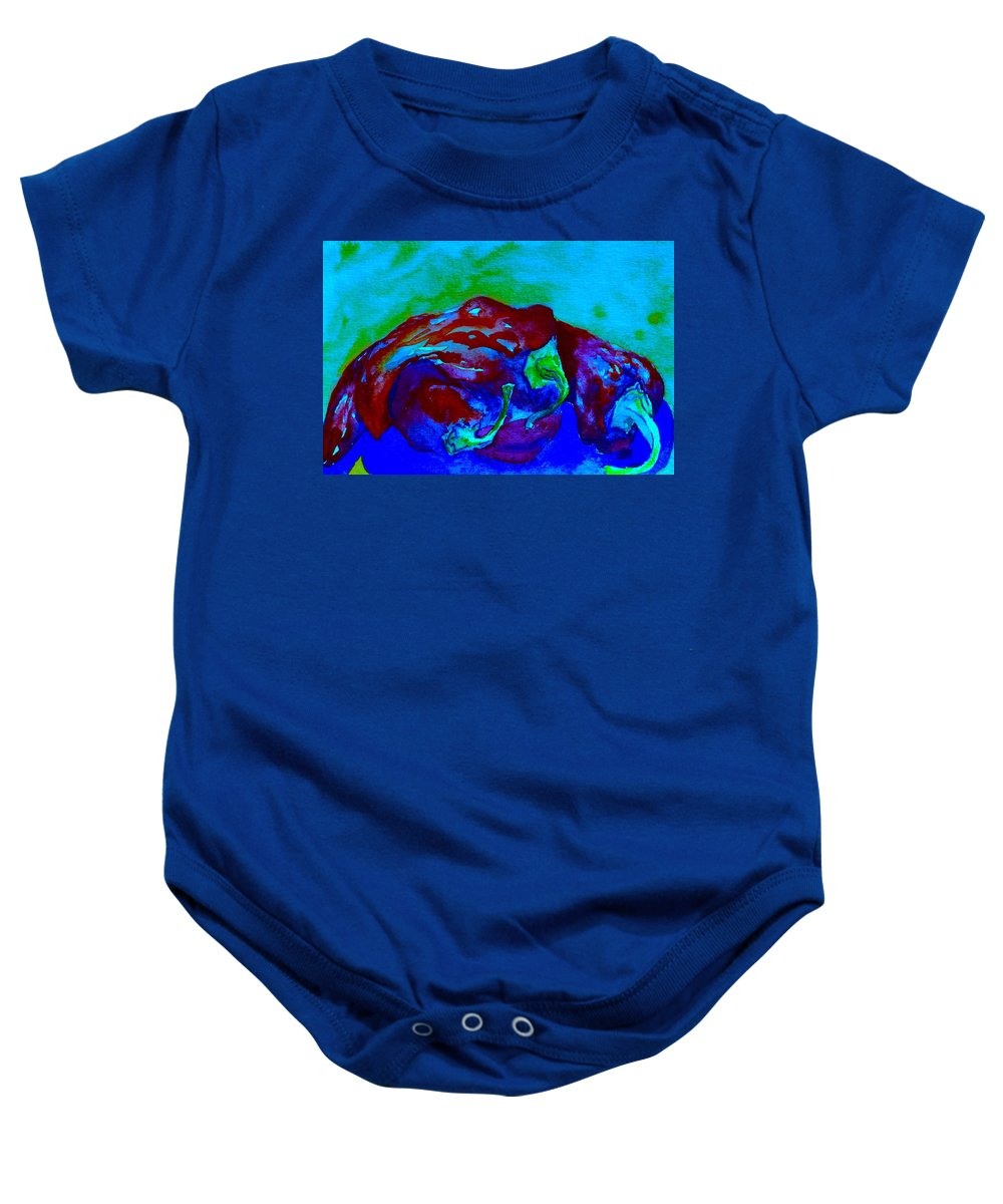 Chili Baby Onesie featuring the painting Cool Heat by Beverley Harper Tinsley
