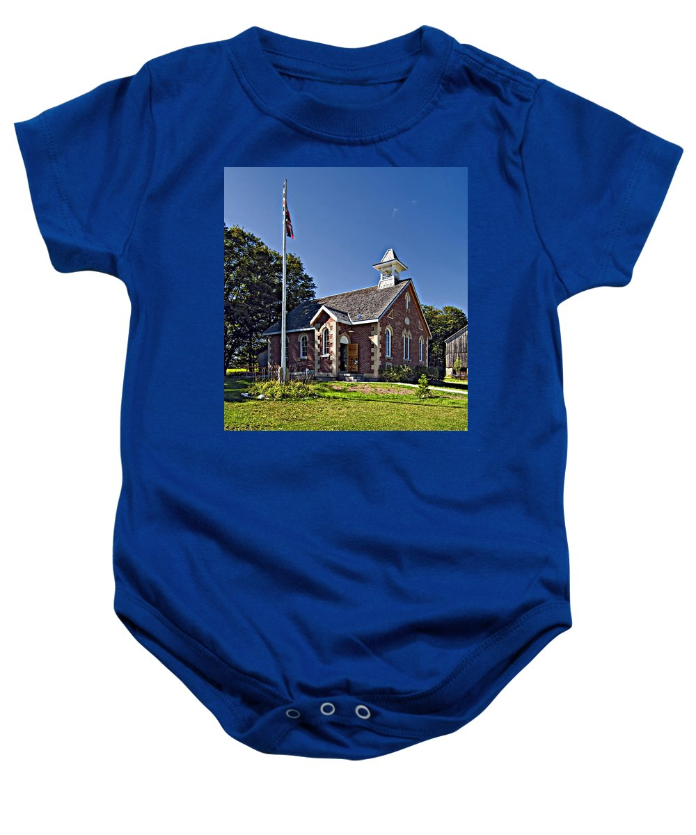 Grey Roots Museum & Archives Baby Onesie featuring the photograph Country Church by Steve Harrington