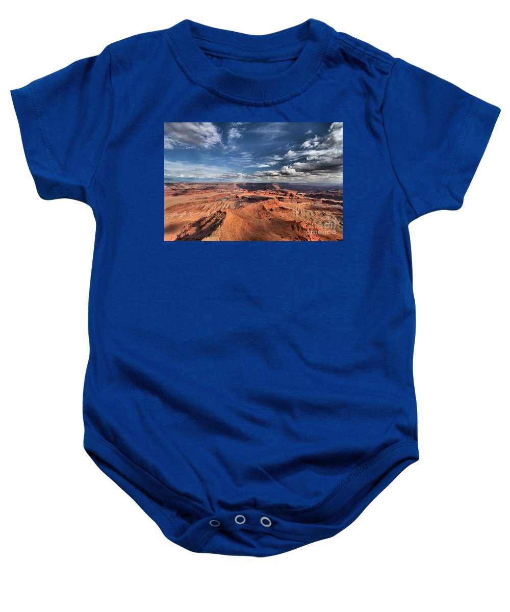 Dead Horse Point Baby Onesie featuring the photograph Dead Horse Point by Adam Jewell