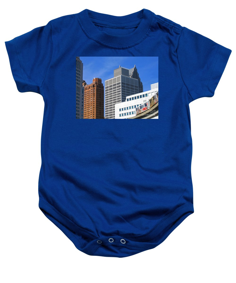 Detroit Baby Onesie featuring the photograph Detroit People Mover by Ann Horn
