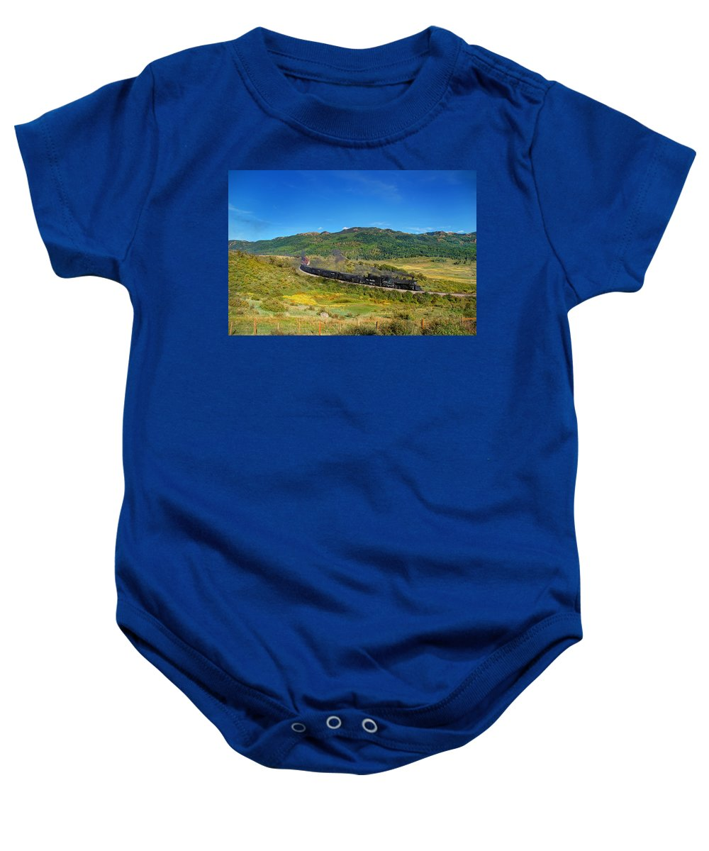 Steam Train Photographs Baby Onesie featuring the photograph Down In The Valley by Ken Smith