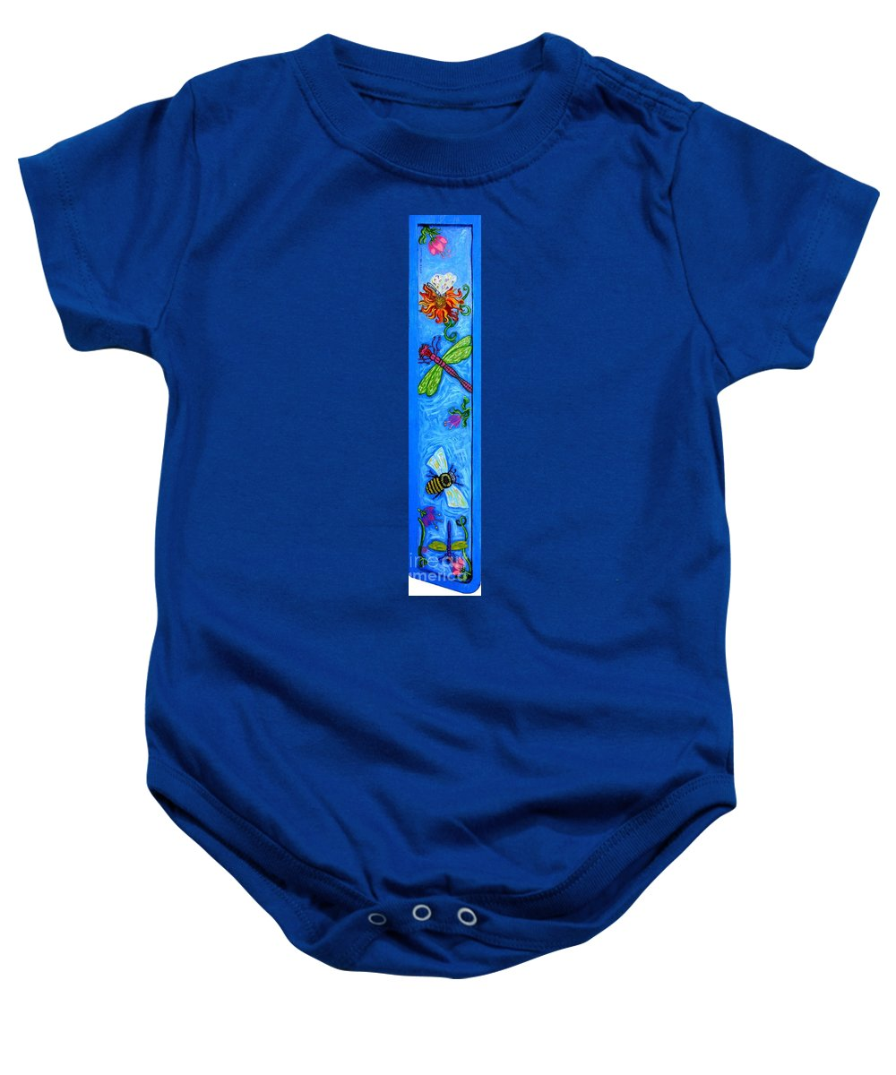 Dragonfly Baby Onesie featuring the painting Dragonfly And Bee by Genevieve Esson