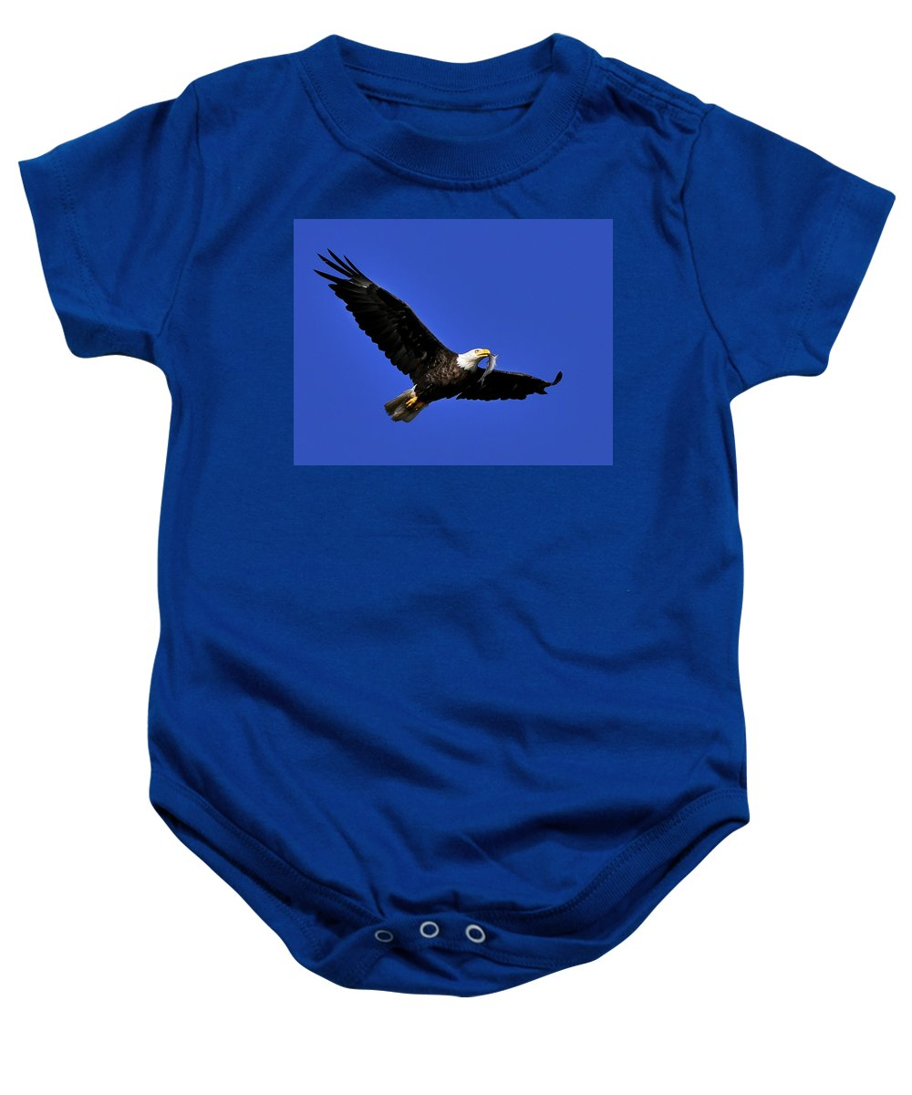Eagle Baby Onesie featuring the photograph Eagle Fish In Mouth by Randall Branham