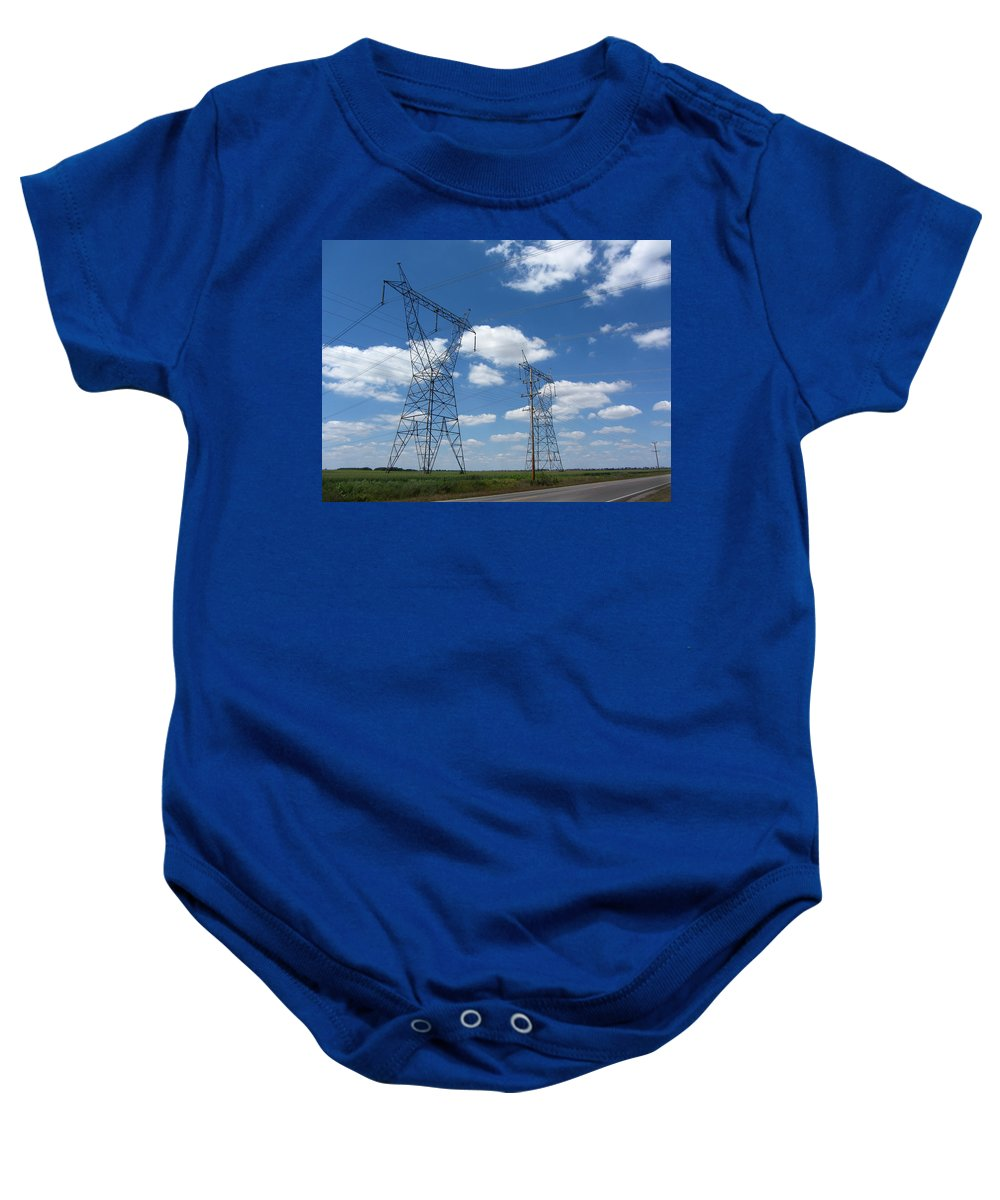 Power Baby Onesie featuring the photograph Feel The Power by Kathy Clark