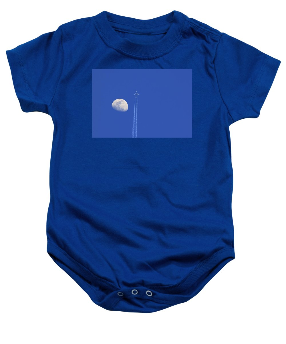 Air Baby Onesie featuring the photograph Fly Me To The Moon by Ricky Barnard