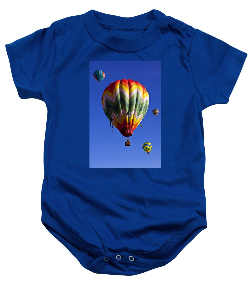 Hot Air Balloon Baby Onesie featuring the photograph Four Hot Air Balloons by Garry Gay