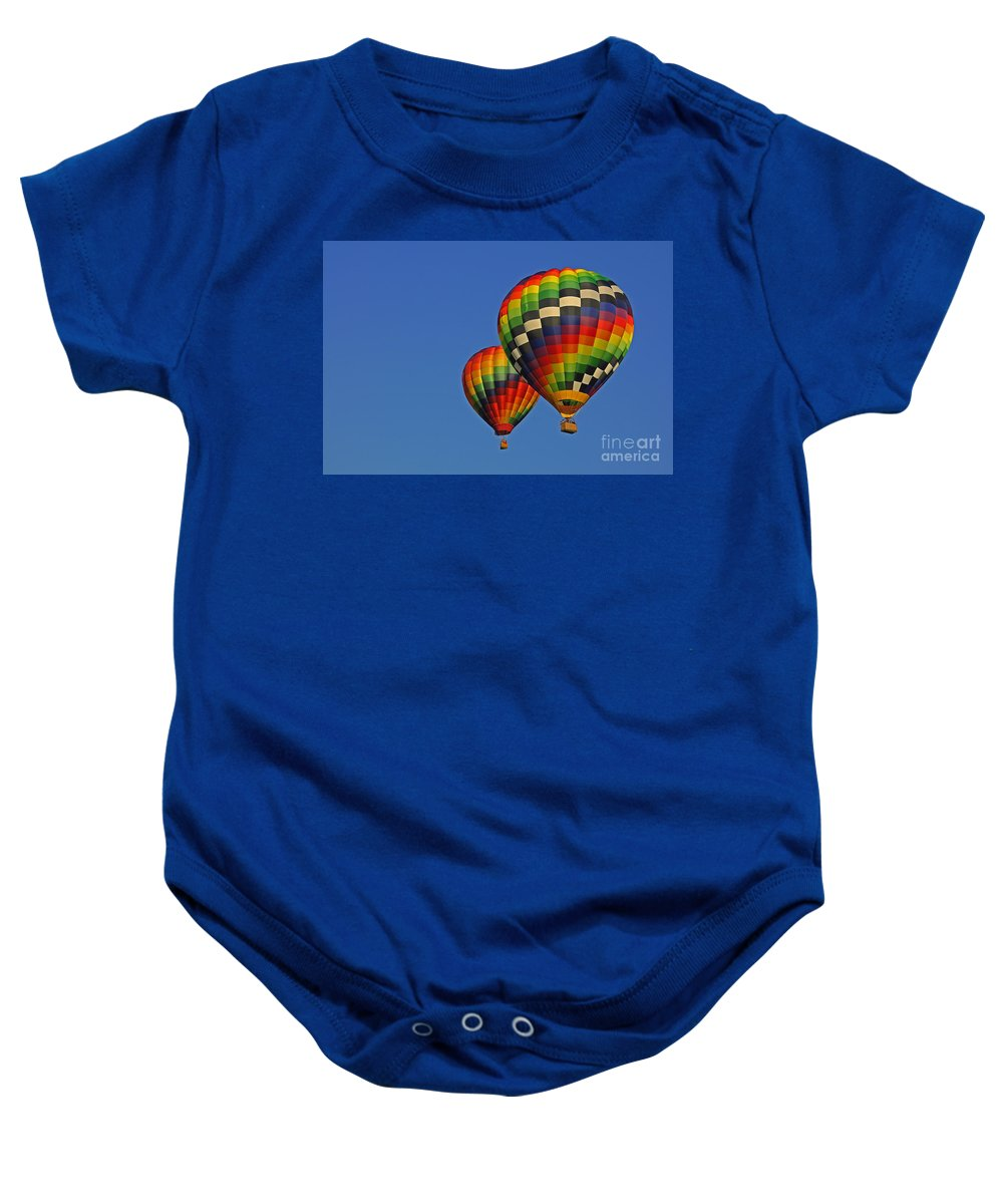 Hot Air Balloon Baby Onesie featuring the photograph Fraternal Twin Balloons by Benanne Stiens