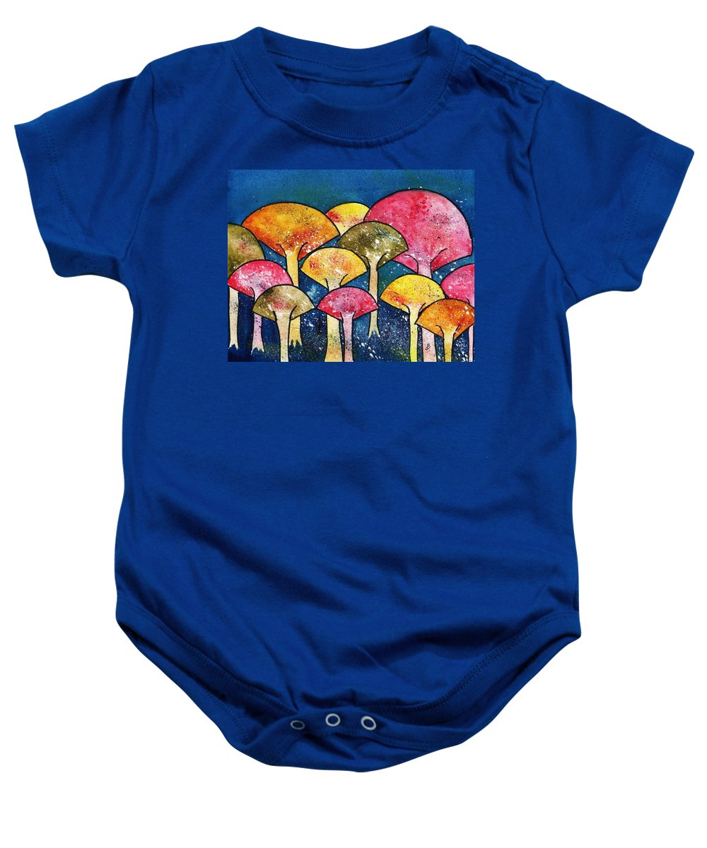 Watercolor Baby Onesie featuring the painting Gathering Of The Colors by Brenda Owen