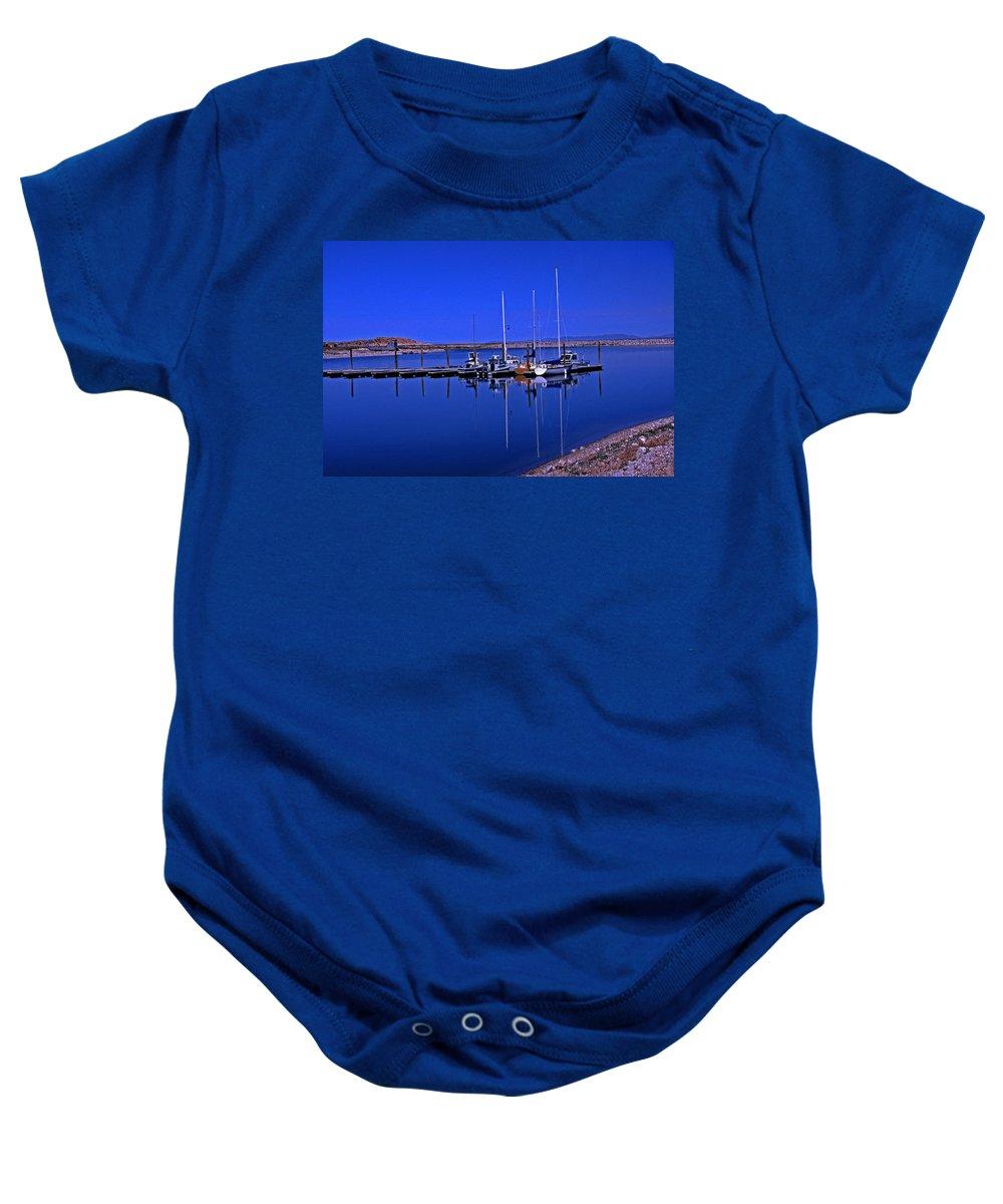 Utah Baby Onesie featuring the photograph Great Salt Lake Antelope Island Marina by Rich Walter