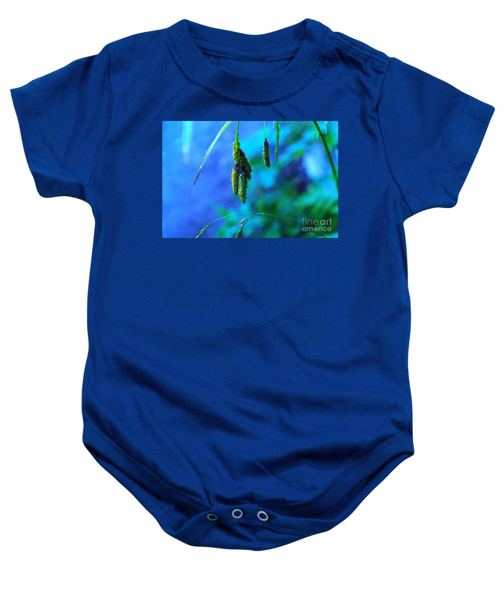 Seeds Baby Onesie featuring the photograph Hanging Green by Jeff Swan