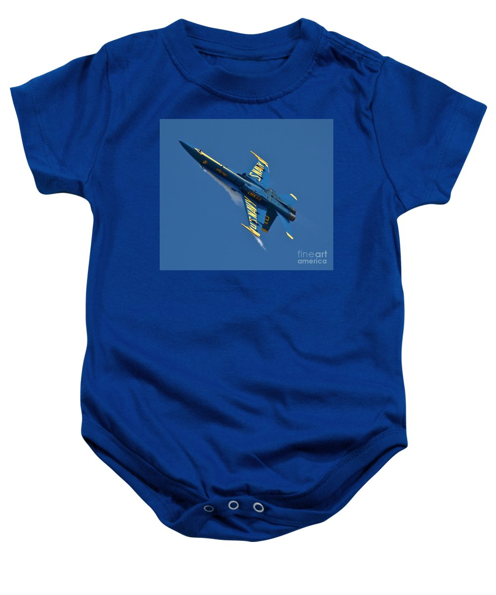 Aviation Baby Onesie featuring the photograph High G Blue by Tim Mulina