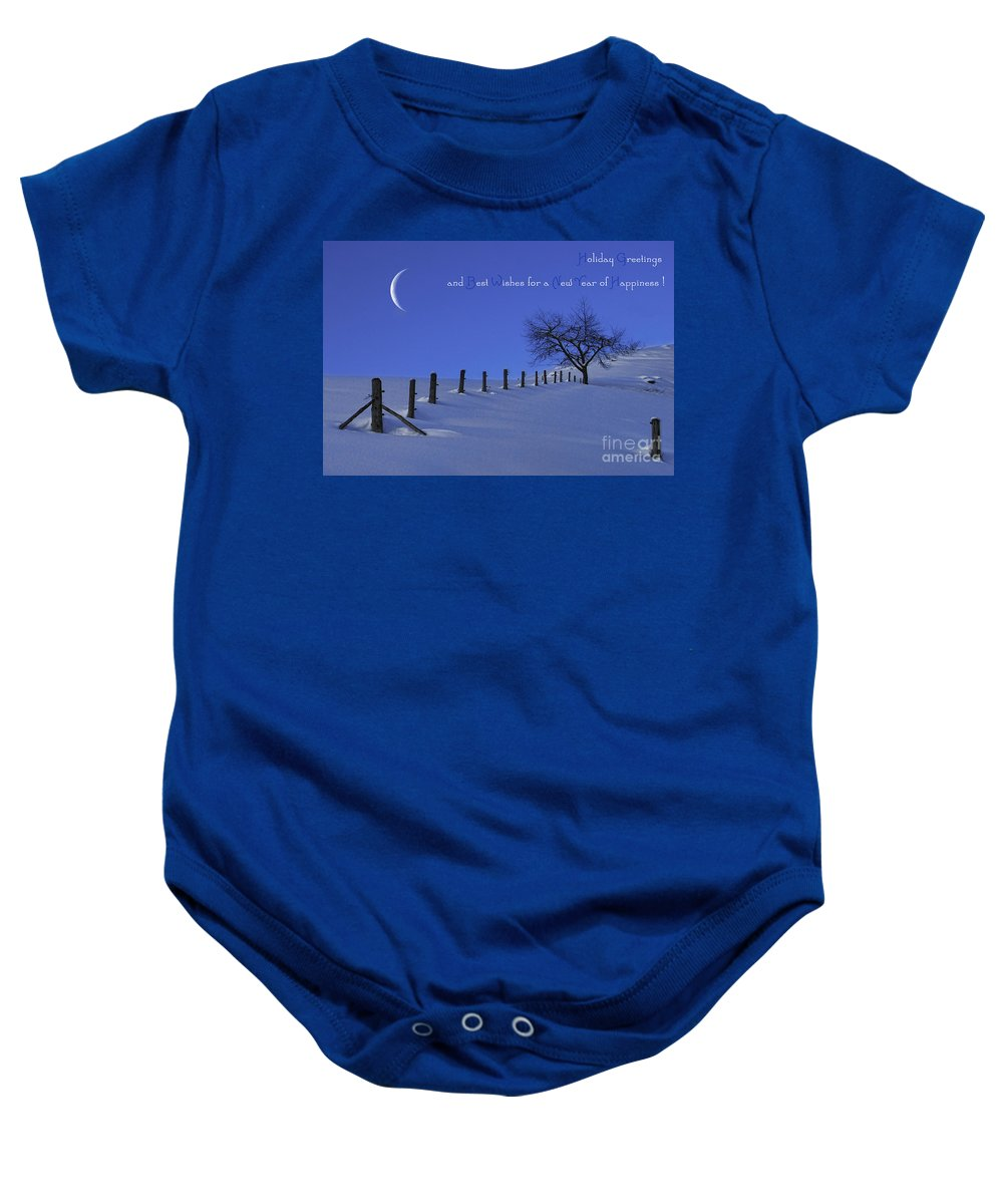 Winter Baby Onesie featuring the photograph Holiday Greetings by Sabine Jacobs