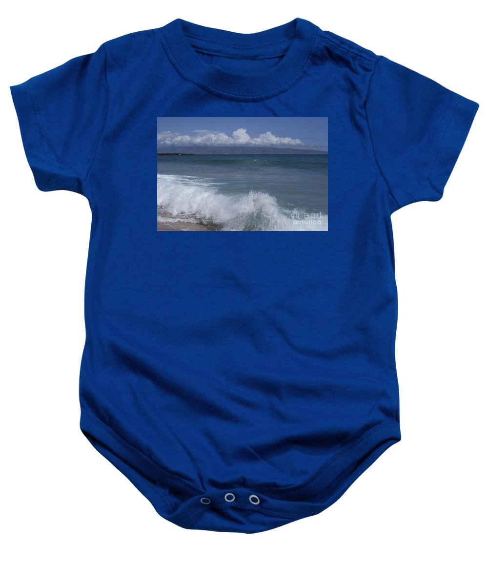Aloha Baby Onesie featuring the photograph Honokohau Aloalo Aheahe D T Fleming Beach Maui Hawaii by Sharon Mau