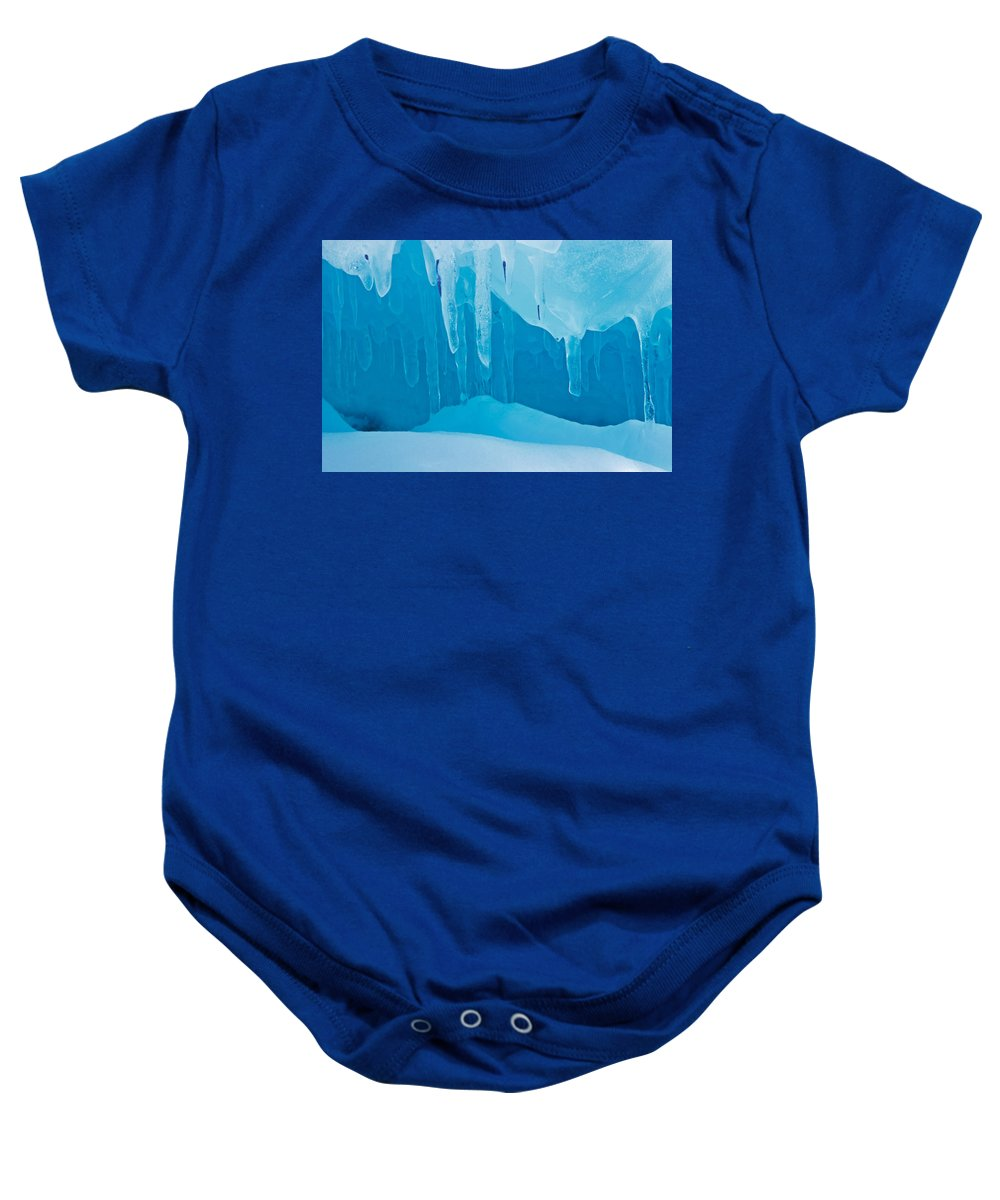 Bruce Peninsula Baby Onesie featuring the photograph Ice Detail On Bruce Peninsula, Georgian by Mike Grandmailson