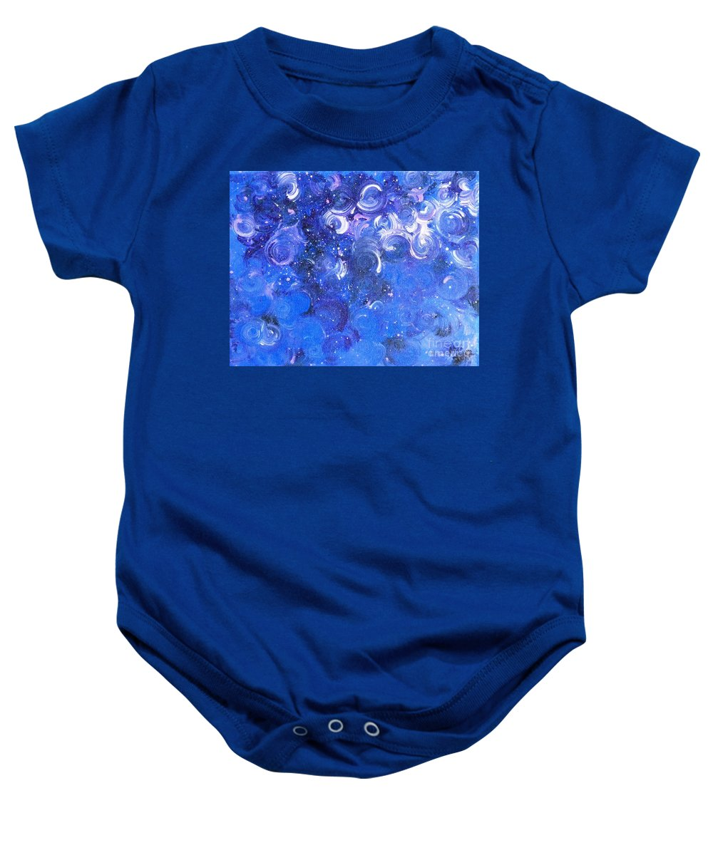 Moody Blues Baby Onesie featuring the painting In Your Wildest Dreams by Alys Caviness-Gober
