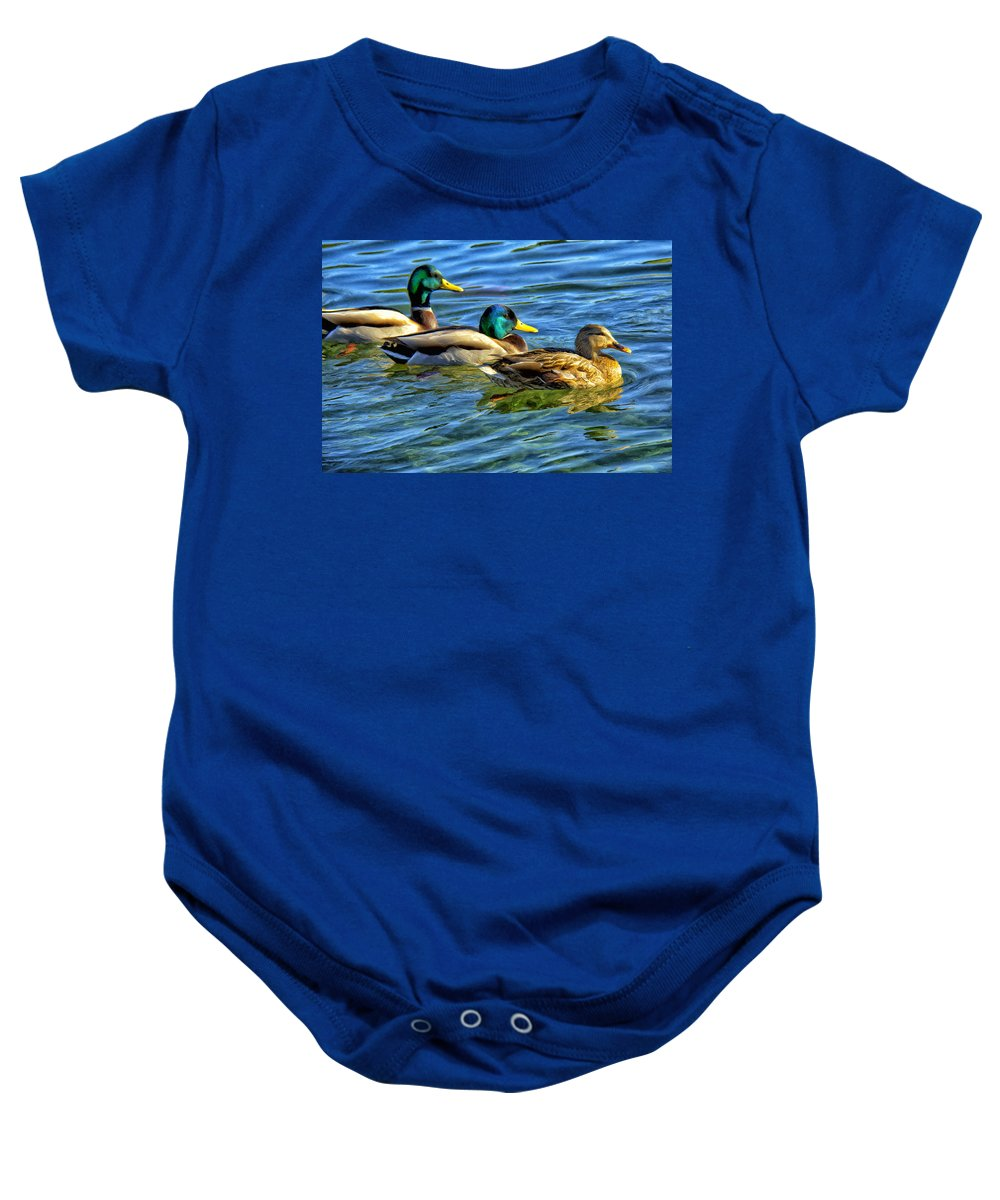 Three Stooges Baby Onesie featuring the painting Larry Moe And Shirley by Dominic Piperata