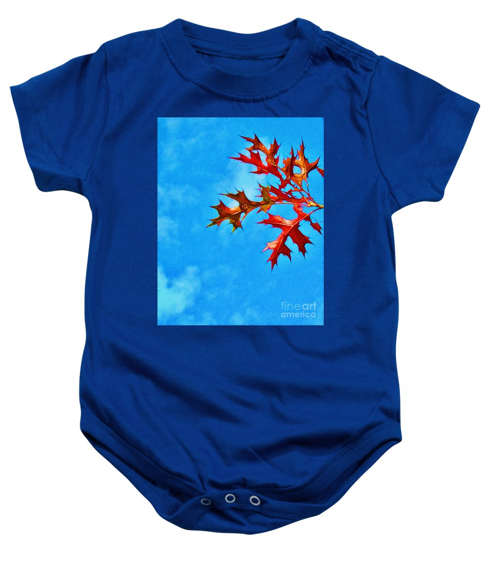 Autumn Baby Onesie featuring the photograph Leaves Against The Sky by Judi Bagwell