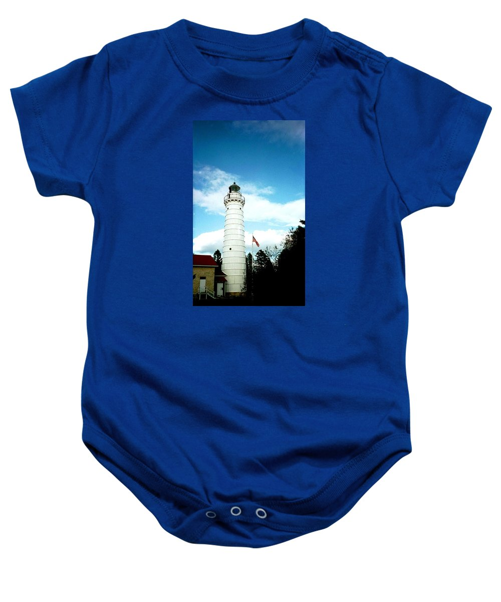 Lighthouse Baby Onesie featuring the photograph Lighthouse In Door County by April Patterson