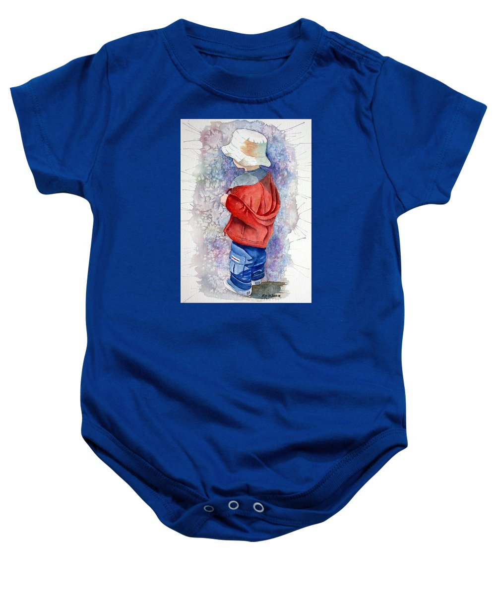 Boy Baby Onesie featuring the painting Little Boy by Lyn DeLano