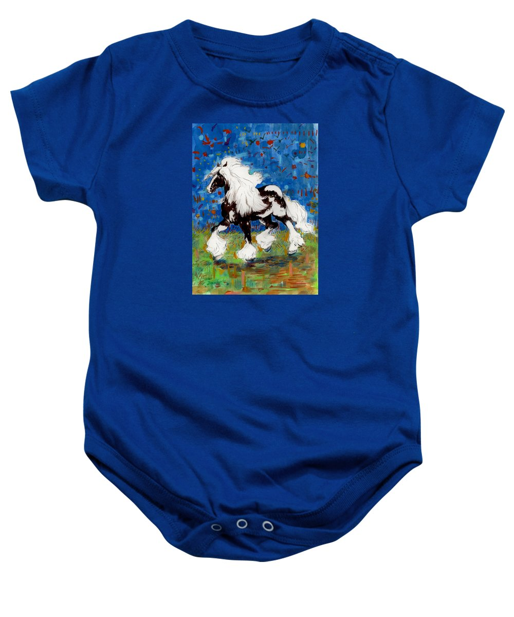 Horses Baby Onesie featuring the painting Majestic One by Mary Armstrong