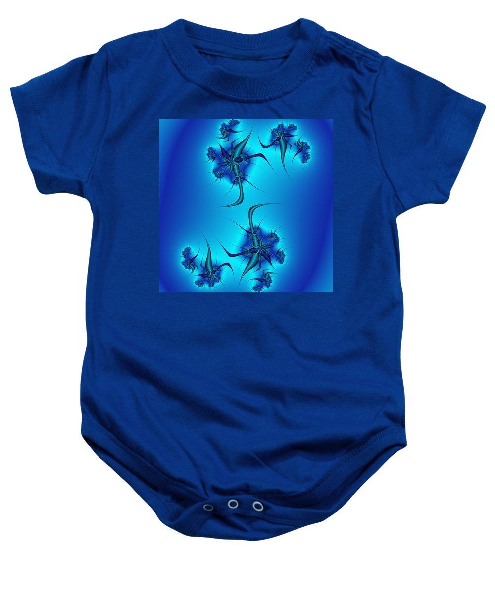 Blue Fractal Baby Onesie featuring the digital art Multiply by Christy Leigh