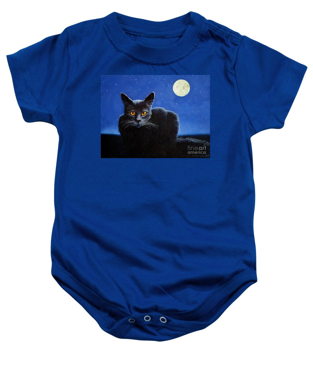 Cat Baby Onesie featuring the painting Name Of The Cat Nightmare by Christopher Shellhammer