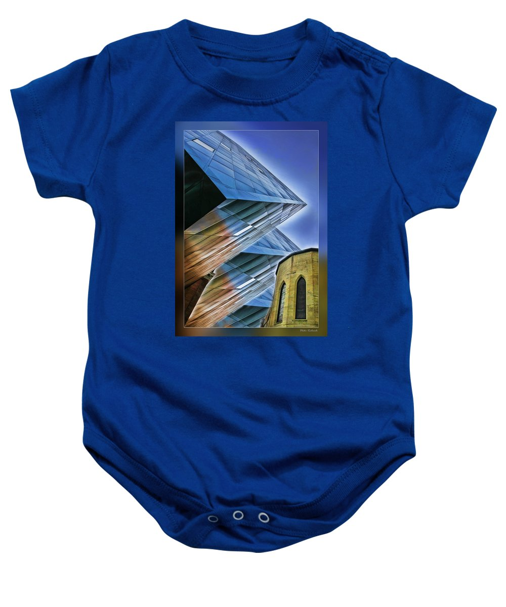 Art Photography Baby Onesie featuring the photograph New And Old Building by Blake Richards