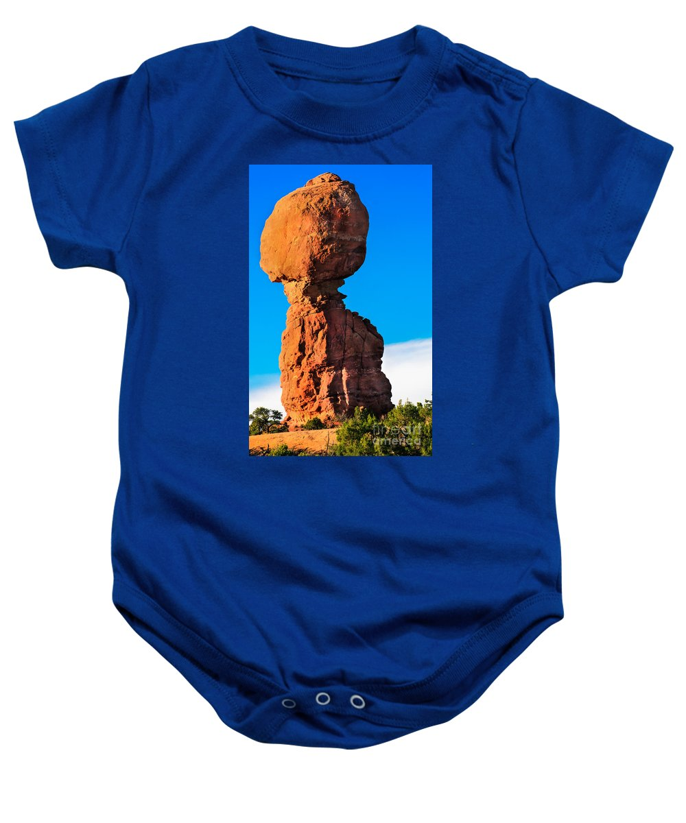 Balance Rock Baby Onesie featuring the photograph Portrait Of Balance Rock by Robert Bales