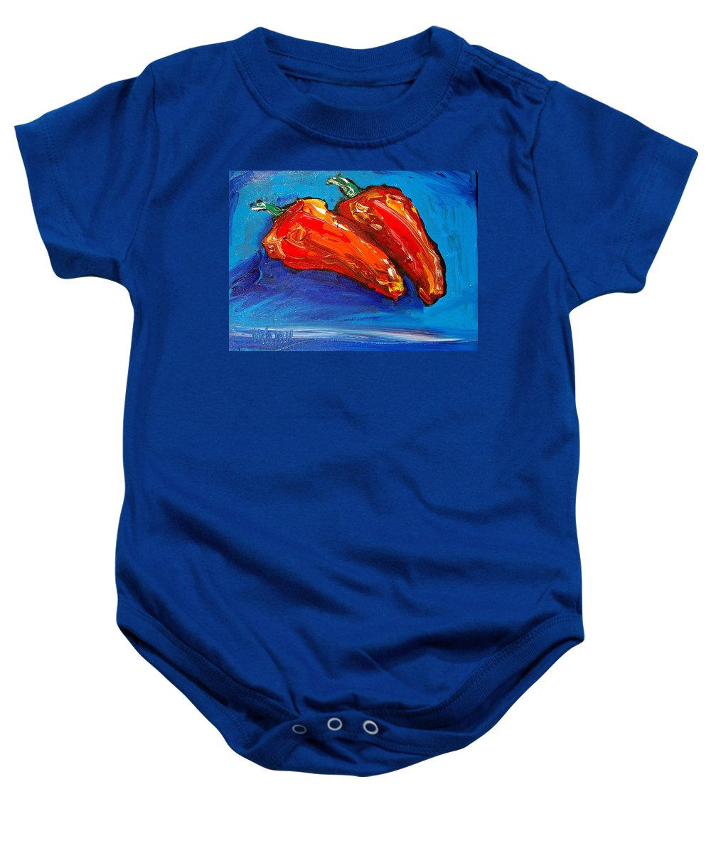 Baby Onesie featuring the painting Red Pears by Mark Kazav