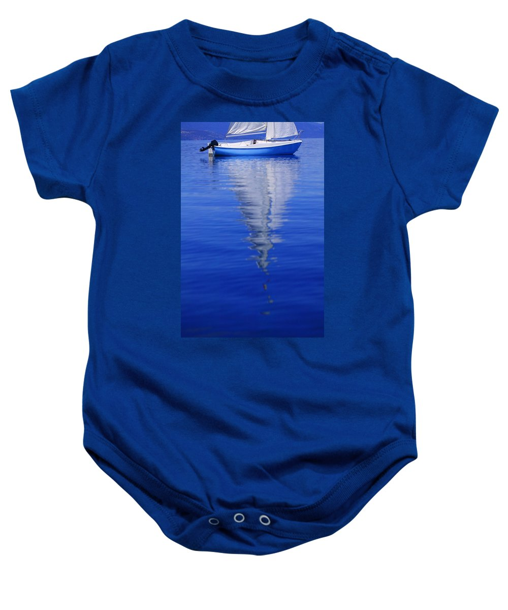 Boat Baby Onesie featuring the photograph Sailboat On Water by Don Hammond